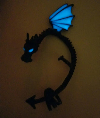 Whispers in Your Ear Dragon Ear Cuff (Blue Glow in the Dark)