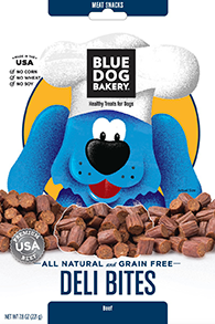 BLUE DOG BAKERY-Healthy Treats for Dogs- BEEF DELI BITES - 7.8 oz Pouch