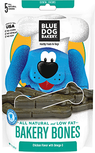 BLUE DOG BAKERY - Healthy TREATS for Pets - BAKERY BONES - Dental Treats - 5 pack