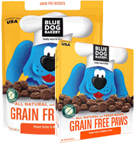 BLUE DOG BAKERY - Healthy Treats for Dogs - GRAIN-FREE PAWS Biscuits - Peanut Butter and Molasses - 24 oz Pouch