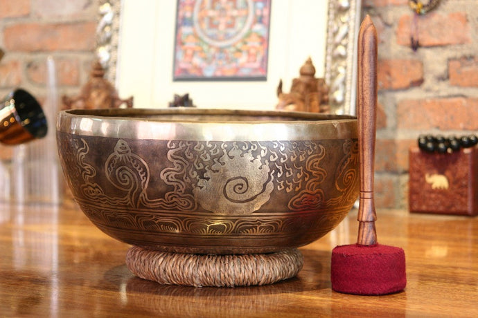 Himalayan Temple Brass Bowl Carved by hand 12.8