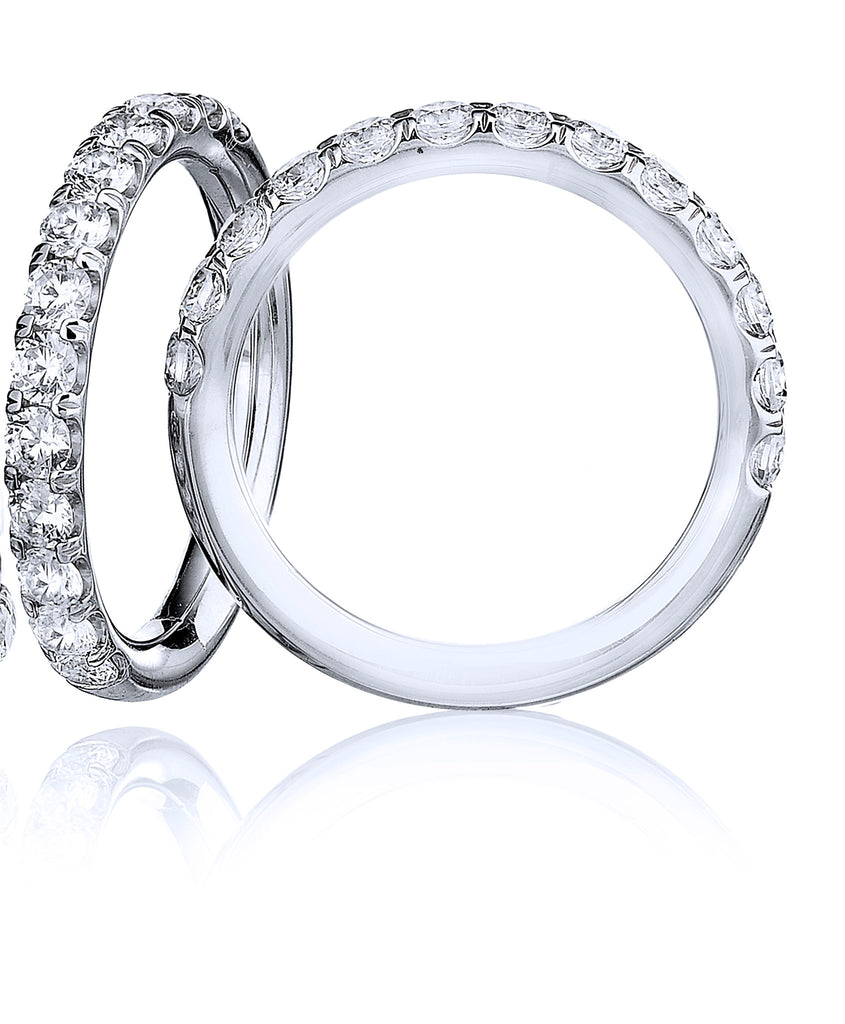 18kt White Gold Diamond Wedding Band Halfway - from Holsten Jewelers