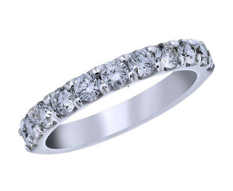 18kt White Gold and Diamond Shared Prong Wedding Band - from Holsten Jewelers