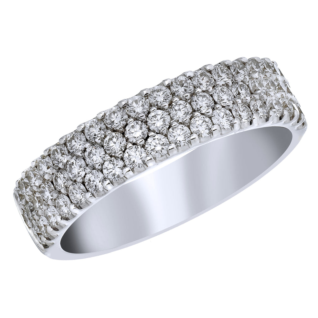 18kt White Gold and Diamond Three Row Cluster Ring - from Holsten Jewelers