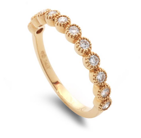 14k Beaded Bezel Wedding Band
