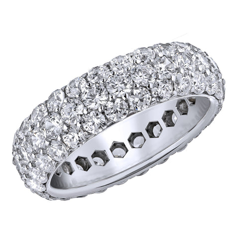 18kt White Gold Three Row Diamond Eternity Band