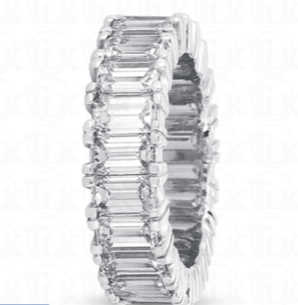 Platinum Emerald Cut Diamond Eternity Band 7.02ct Total Weight - from Holsten Jewelers