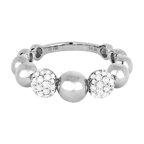 14k White Gold Alternating Pave Diamond And Round Bead Ring - from Holsten Jewelers