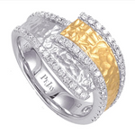14k White And Yellow Gold Hammered Bypass Ring With Diamonds - from Holsten Jewelers