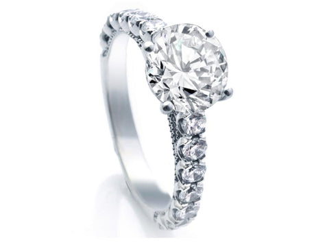 14K Scooped Diamond Semi mount W/ Beading Ring Engagement Ring (Center Stone not Included)
