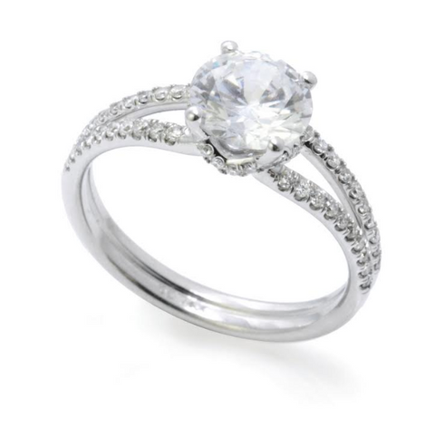 14k White Gold Split Shank Diamond Mounting With Emerald Cut Center (Center Stone Not Included)