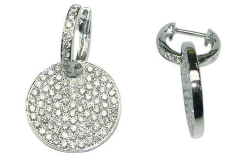 18K White Diamond Huggie with Pave Circle Drop - from Holsten Jewelers