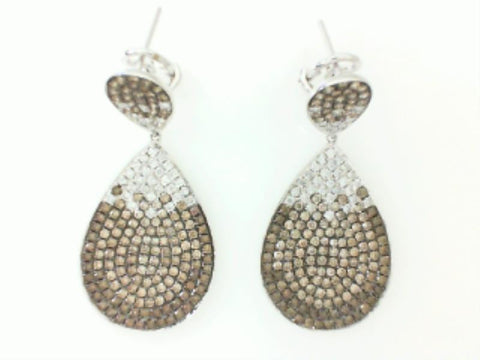 18K White Two-Tone Diamond Drop Earring