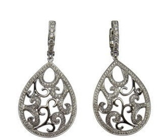 Open Work Diamond Dangle Earring