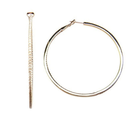 "18 Karat 2"" Inside Out Diamond Hoops Earrings"