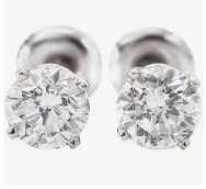 14k White Gold Diamond Stud Earrings 1.41ct Total H/I Color SI3 Clarity-Not Certified - from Holsten Jewelers
