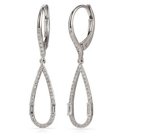 14k White Gold Dangle Diamond Earrings - from Holsten Jewelers