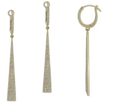 14k Yellow Gold Long Pave Diamond Earrings - from Holsten Jewelers
