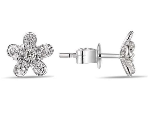 14k White Gold Diamond Flower Earrings - from Holsten Jewelers
