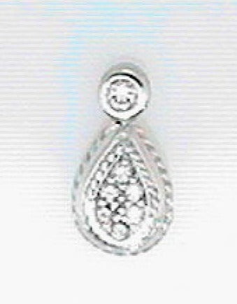 14K White Gold Diamond Pave Drop Pendant - from Holsten Jewelers