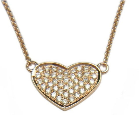 18K Rose Gold Pave Diamond Heart Pendant - from Holsten Jewelers