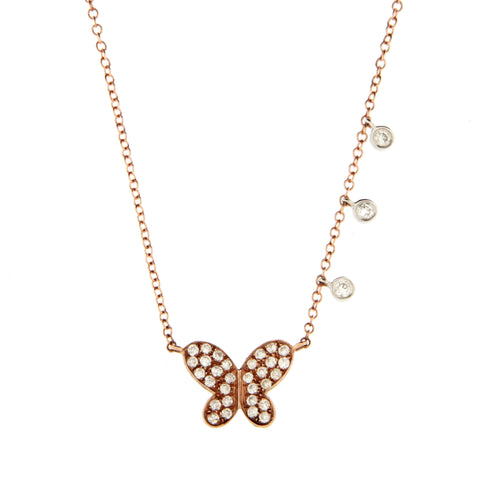 Rose Gold Diamond Butterfly Pendant