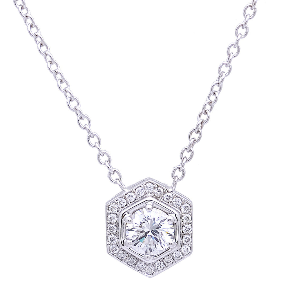 Octagonal Diamond Halo Pendant