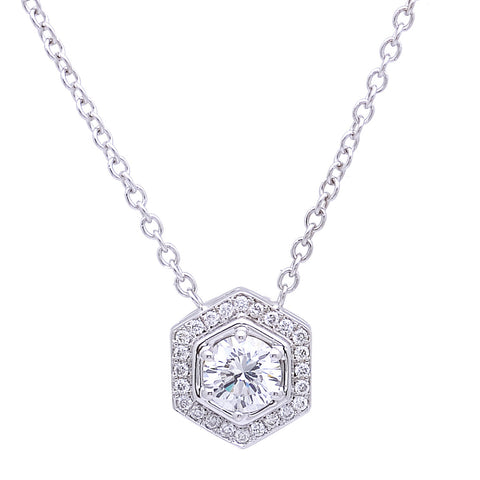 14k White Gold Octagonal Diamond Halo Pendant(center stone not included) - from Holsten Jewelers
