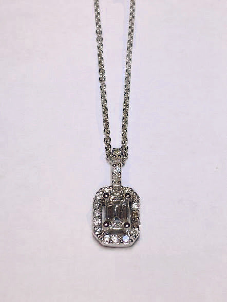 Emerald Cut Diamond and Halo Pendant