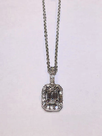 14k White Gold Emerald Cut Diamond in Diamond Halo Pendant - from Holsten Jewelers