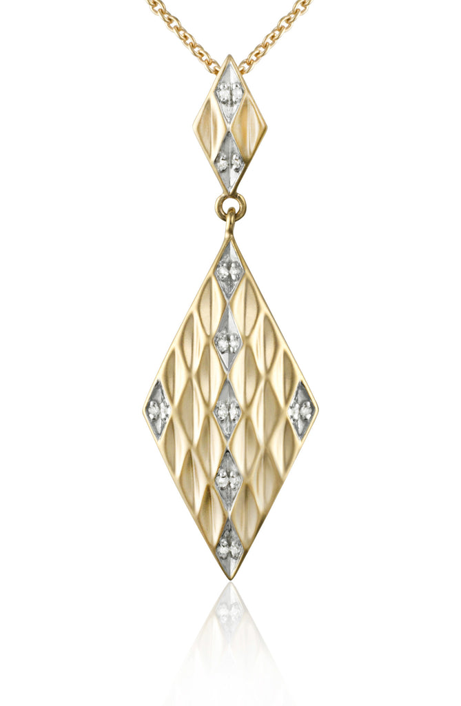 Matte Gold Diamond Shape Pendant