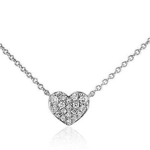 White Gold Pave Diamond Heart Pendant