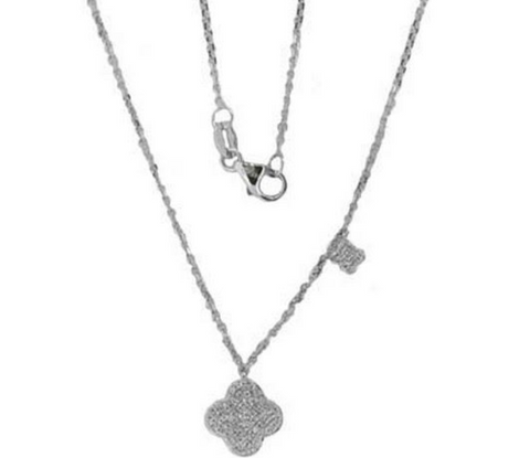 14k White Gold Pave Diamond Clover Pendant - from Holsten Jewelers