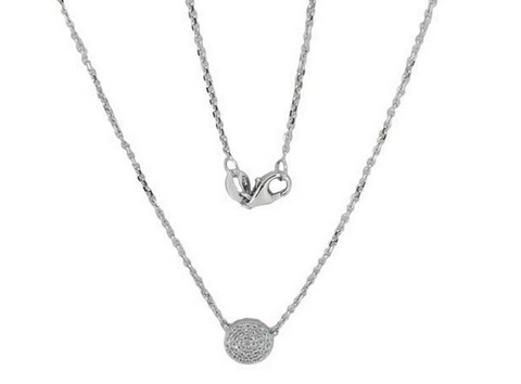 14k White Gold Round Diamond Pave Pendant - from Holsten Jewelers