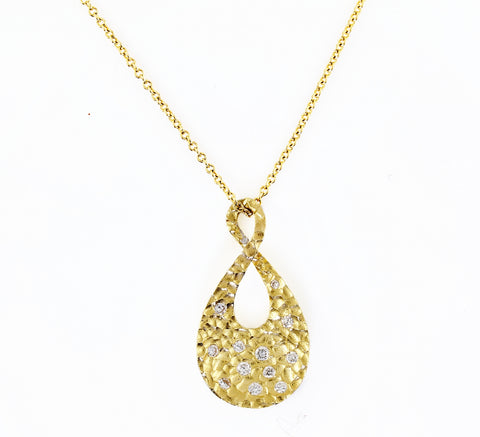 14k Two-Tone 14 Karat Tear Drop with  Burnished Diamond Pendant