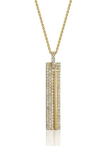 14k Yellow Gold Rectangular Diamond Pendant - from Holsten Jewelers