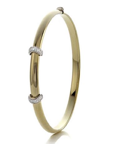 14K Bangle With 2 Diamond Pave Bar Bracelet