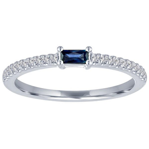 14k White Gold Baguette Sapphire with Diamond Band Ring