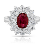 14k White Gold Oval Ruby In Diamond Halo Ring - from Holsten Jewelers
