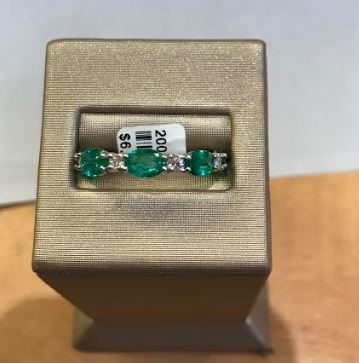14k White Gold Oval Emerald And Diamond Band - from Holsten Jewelers
