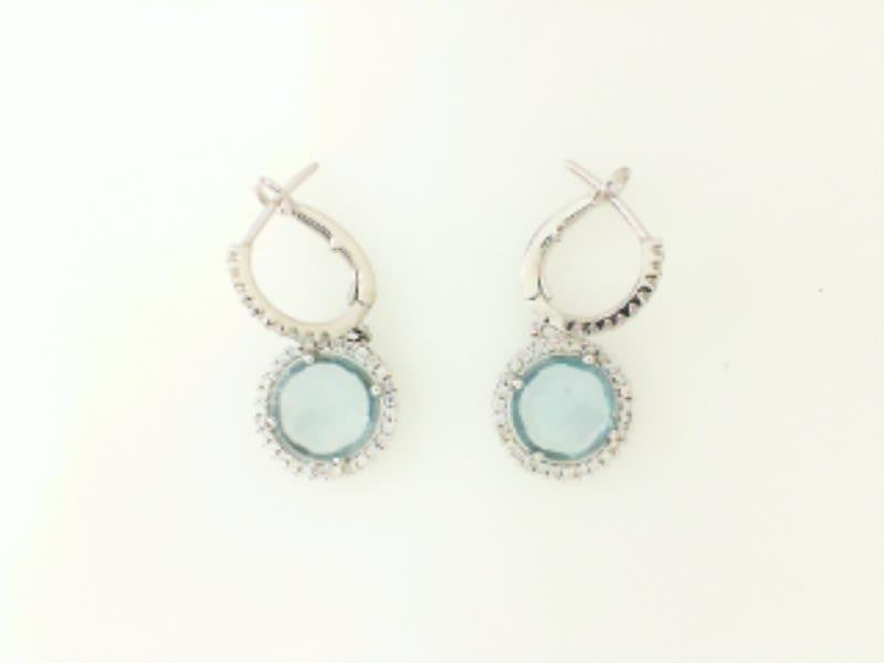 Blue Topaz & Diamond Dangle Earrings
