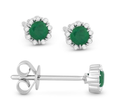 14k White Gold Emerald And Diamond Earrings - from Holsten Jewelers
