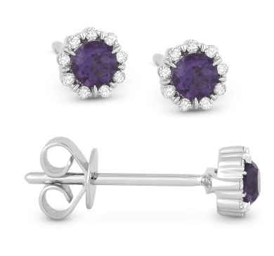 14k White Gold Synthetic Alexandrite And Diamond Earrings - from Holsten Jewelers