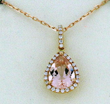 18k Rose Gold Morganite and Diamond Pendant - from Holsten Jewelers