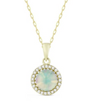 14k Yellow Gold Opal In Diamond Halo Pendant - from Holsten Jewelers