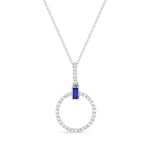 14k White Gold Diamond Circle Pendant With Sapphire Bagguette - from Holsten Jewelers