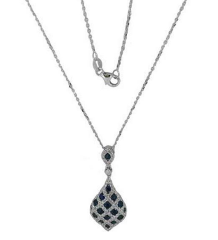 14k White Gold Sapphire and Diamond Cluster Pendant - from Holsten Jewelers