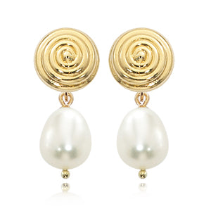 Yellow 14 Karat Swirled Round Stud with Pearls Earrings