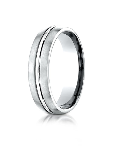 14k White Gold Satin Edge Shiny Middle 6mm Wedding Band Size 10 - from Holsten Jewelers