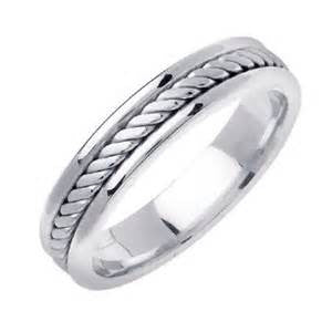 14k White Gold Men's Double Rope Design Wedding Band - from Holsten Jewelers